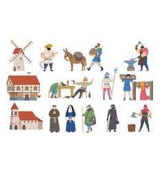 medieval icon set with houses taverns villagers vector image