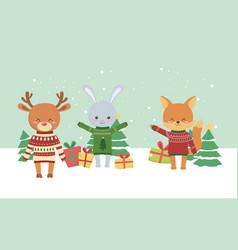 merry christmas celebration cute fox deer rabbit vector image