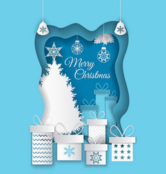 Merry christmas postcard with paper cut pine tree vector