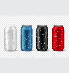 metal cans with drops realistic aluminium can vector image