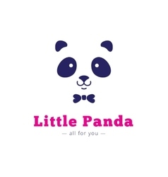 Minimalistic panda head with bow tie logo vector