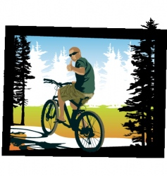 Mountainbiker thumbsup vector