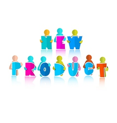 New Product Title with Paper Cut People vector image