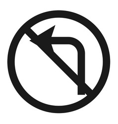 No left prohibition turn sign line icon vector
