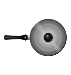 non-stick pan with lid isolated image realistic vector image