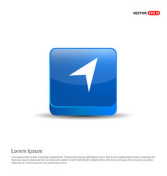 paper plane icon - 3d blue button vector image
