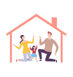 Parents and their daughter at home house frame vector