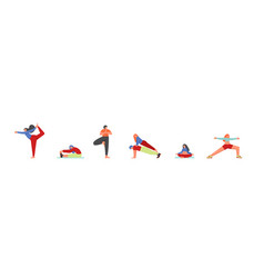 people doing yoga asanas flat isolated vector image