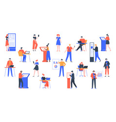people use devices characters with digital vector image