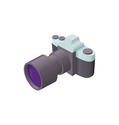 Photo camera with lens icon cartoon style vector image