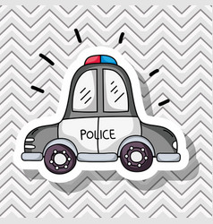 Police car transportation patches design vector