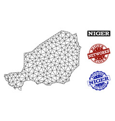 polygonal network mesh map of niger and vector image