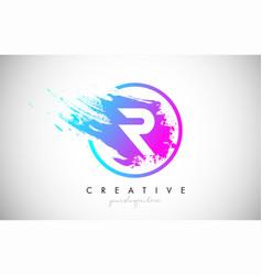 R artistic brush letter logo design in purple vector