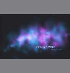 realistic colored blue purple and pink smoke on a vector image