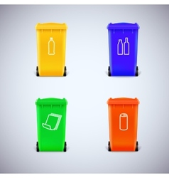 recycle bins with symbols vector image