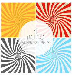 retro sunburst rays set in vintage style spiral vector image