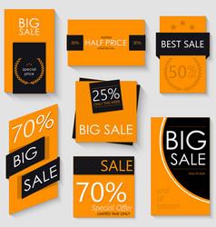 sale banner template design set of seven orange vector image