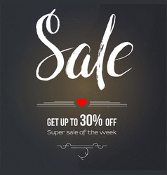 Sale get up to 30 percent discount calligraphy vector