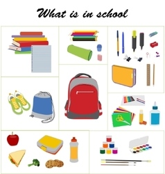 School essentials flat set vector image