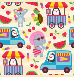 Seamless pattern with animals and ice cream vector