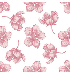 seamless pattern with hand drawn pastel sakura vector image