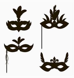 set carnival face masks icons vector image