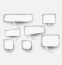 set comic doodles hand drawn speech bubbles vector image