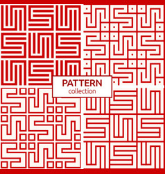 set four korean or chinese seamless patterns vector image