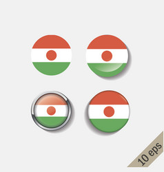 Set niger flags round badges vector