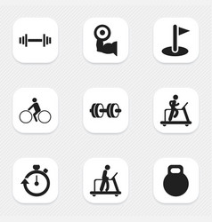 set of 9 editable active icons includes symbols vector image