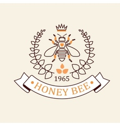 set of honey and bees labels badges vector image