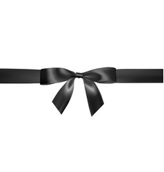 Set of realistic black bow with black ribbon vector