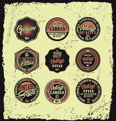 set of vintage style label badges on a grunge vector image