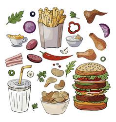 set og hand drawn fast food elements vector image