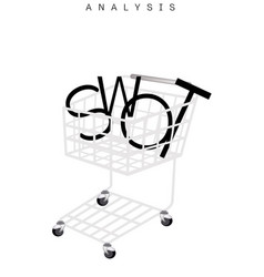 Shopping cart with swot analysis strategy manageme vector
