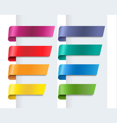 silk colorful ribbons set white background vector image
