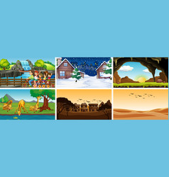 Six scenes with animals and people vector