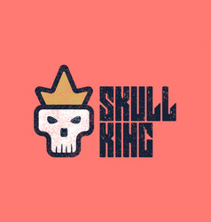skull wearing a crown royalty-free logo template vector image