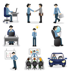 Small business people icons in different situation vector