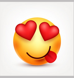 Smiley with tongue and heartssmiling emoticon vector