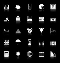 Stock market icons with reflect on black vector image