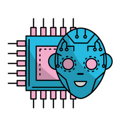 technology digital face vector image