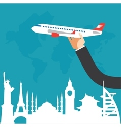 travel by airplane vacation adventure vector image