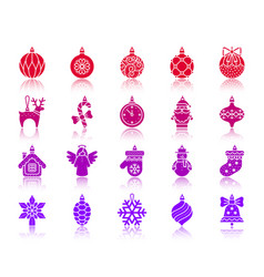 Tree decorations color silhouette icons set vector