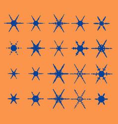 Vintage snowflake set 20 original snow vector