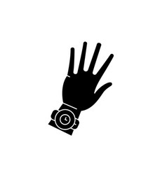 watch on hand black icon sign on isolated vector image