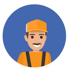 whiskered erector in black overalls yellow helmet vector image