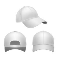white baseball cap 3d mockup hat head caps back vector image