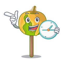 With clock candy apple character cartoon vector