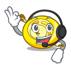 with headphone cd player mascot cartoon vector image